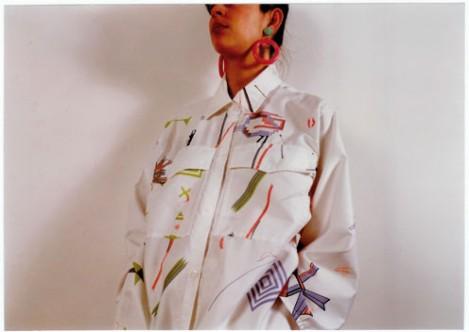 white shirt - silkscreen print